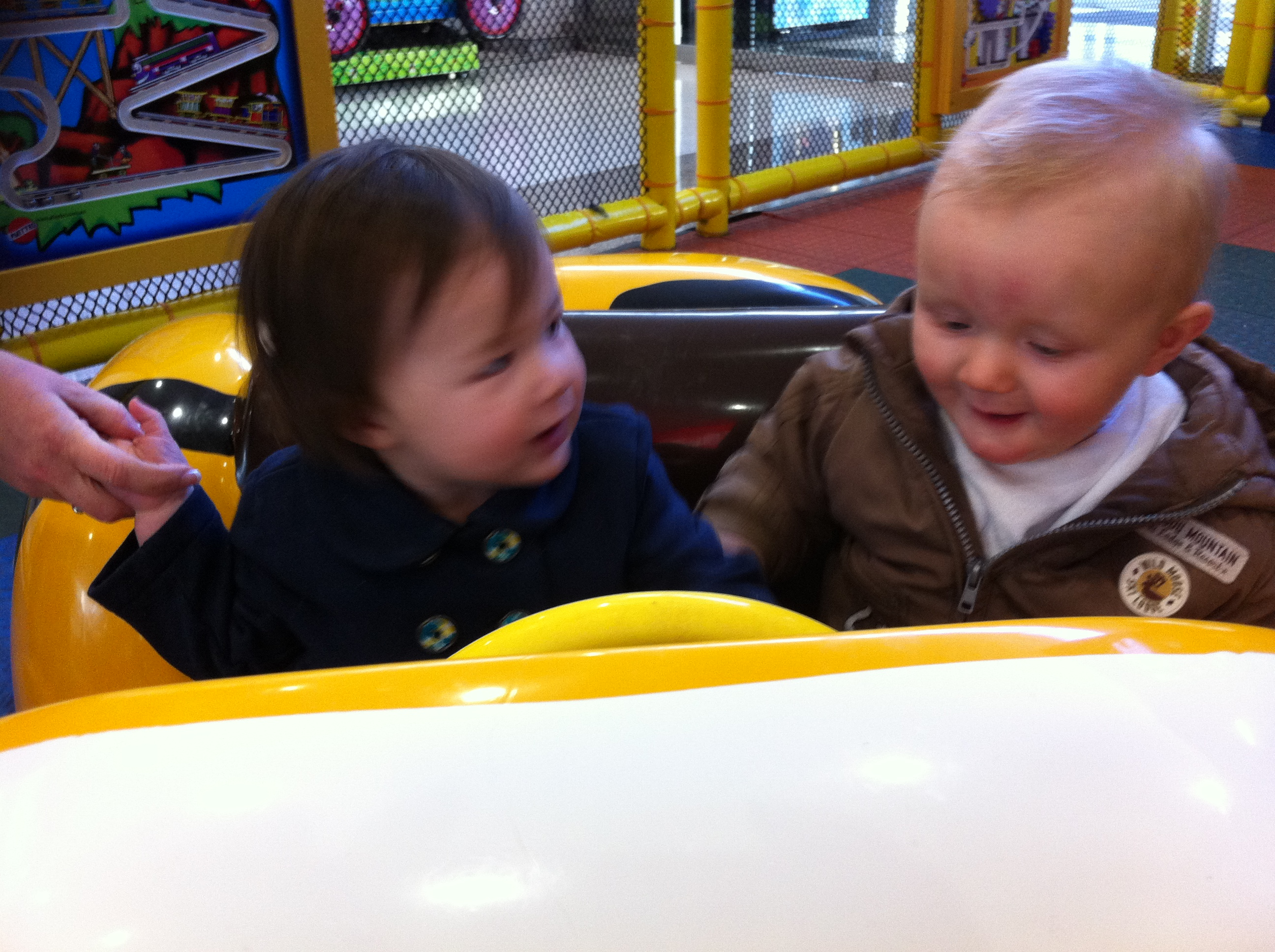 Arddun and Ryan in the bumble bee car