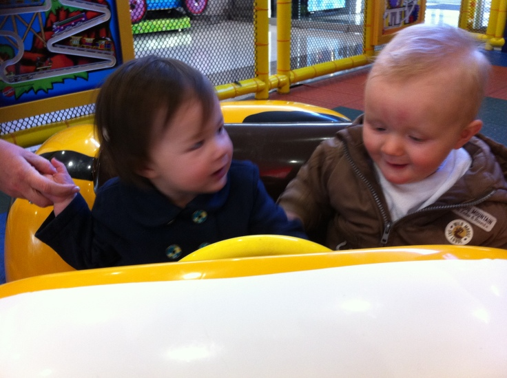 Arddun and Ryan in the bumble bee car