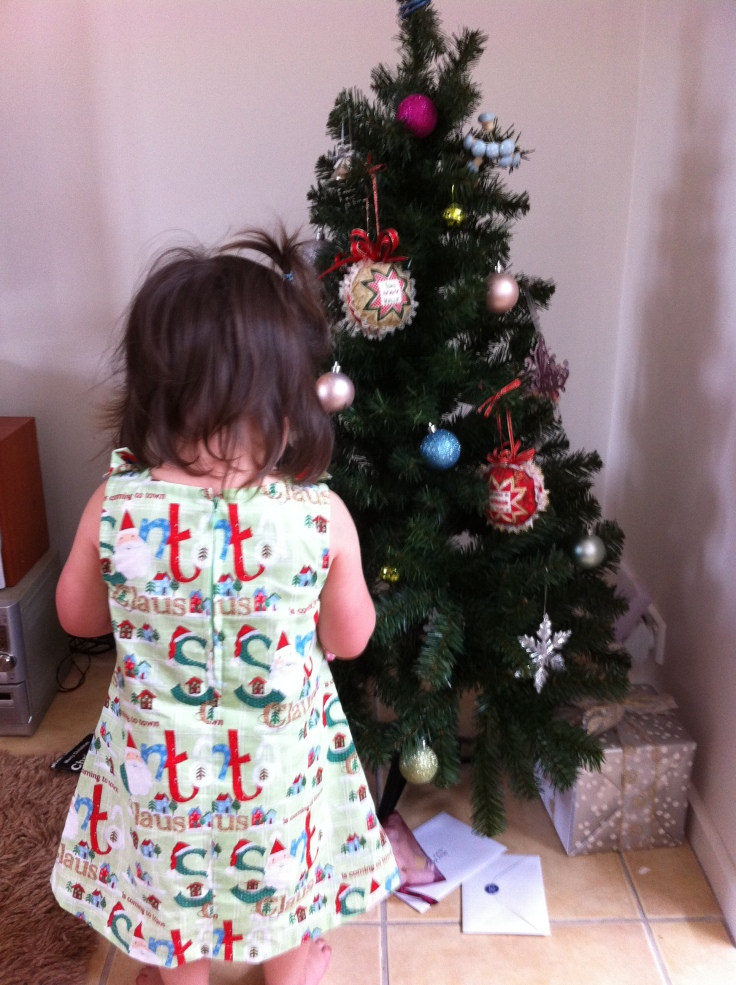 Back view of Christmas dress