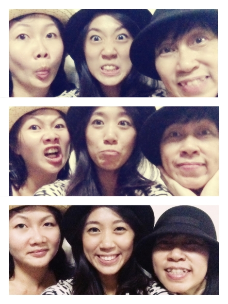 Velle, Andrea and Ah-yee wearing mum's Cancer Hats