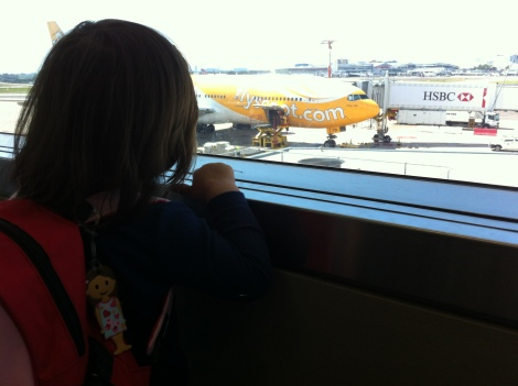 Waiting to get on Scoot plane