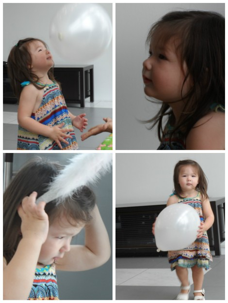 4-picture montage of Arddun at second birthday party