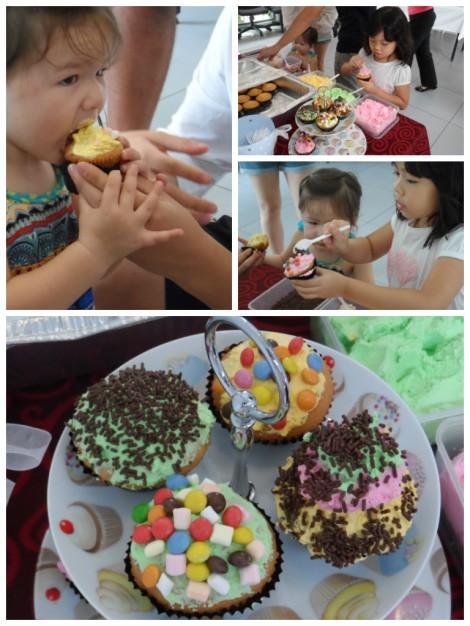 Cupcake-making station photo montage