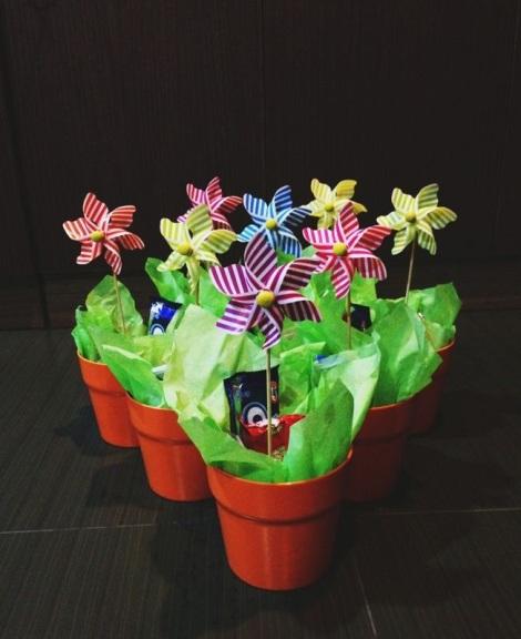 Tony and Arddun's combined birthday door gifts in flower pots