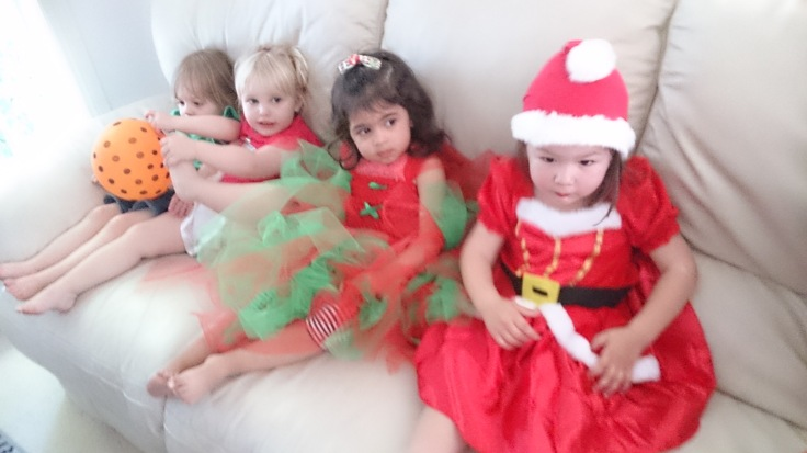 Christmas costumes, waiting patiently