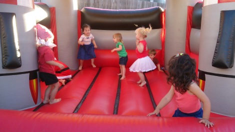 6 toddlers in Jumping castle