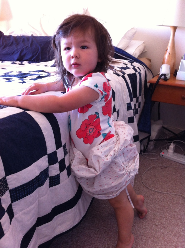 Arddun wearing mummy's shirt as skirt