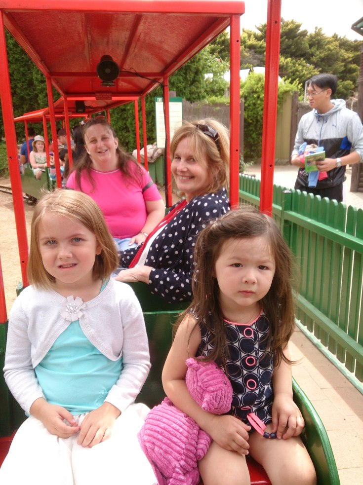 Arddun, Kerri, Penny and Hayley on the train at Cockington Green
