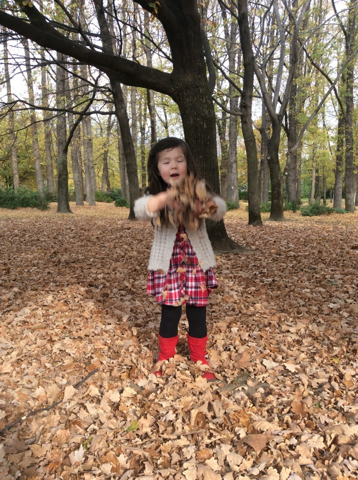 Arddun about to toss autumn leaf pile