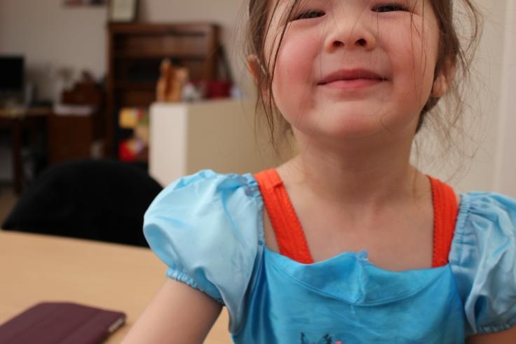 Arddun in Cinderella Dress, Extreme Close Up, grinning