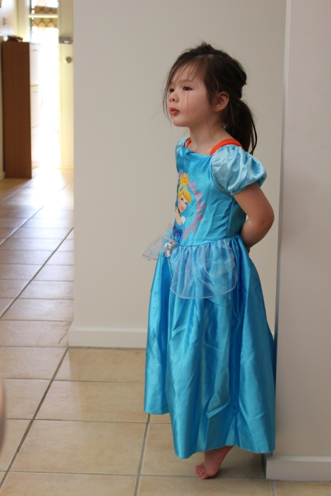 Arddun in Cinderella dress, full length shot