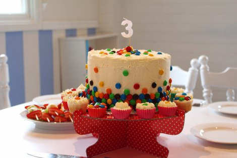 Smartie cake with birthday candle 3