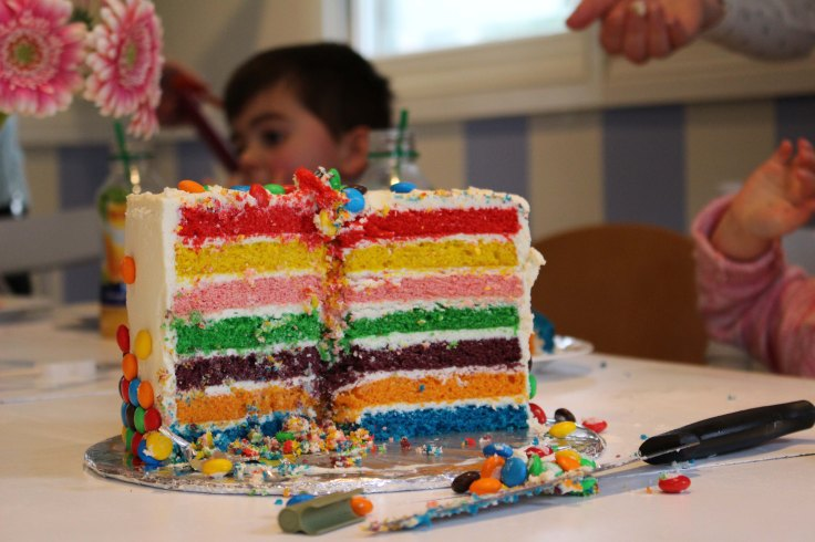 Cross section of rainbow cake