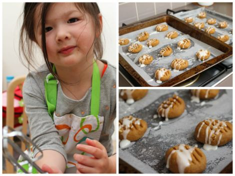 Collage of Arddun with cookies on tray