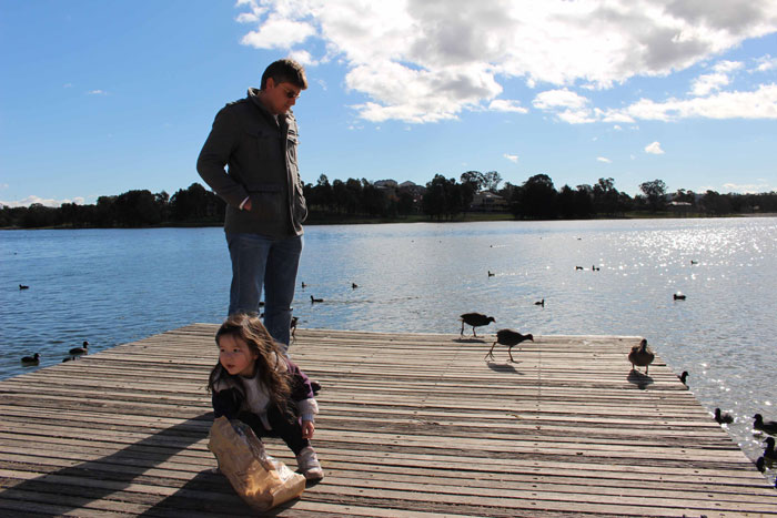 Arddun, Tony and ducks on pier