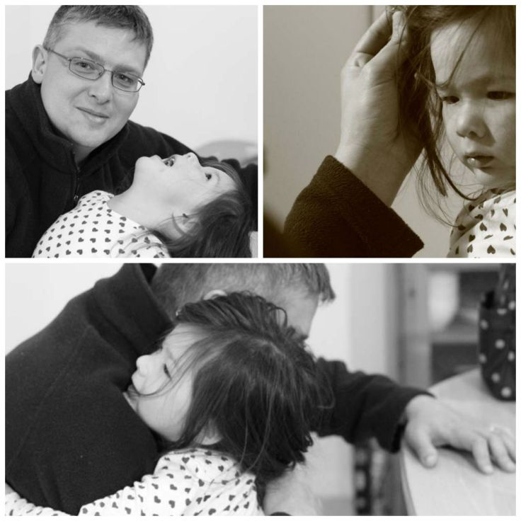 Collage of monotone photos  with Tony and Arddung hugging