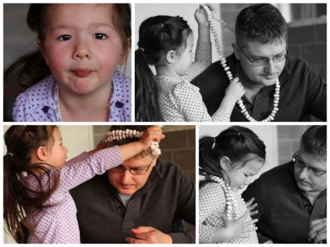 Collage of photos of Arddun placing necklace on Tony