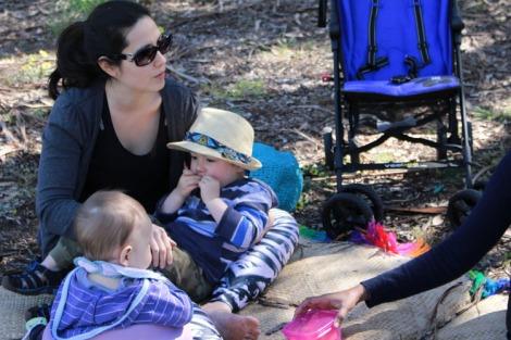 Sara with her babies
