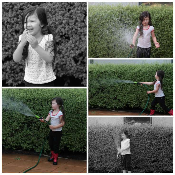 Collage of Arddun playing with water hose