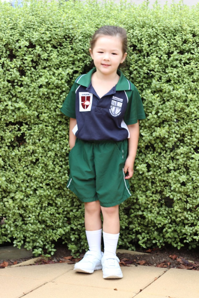Arddun in the garden in school uniform