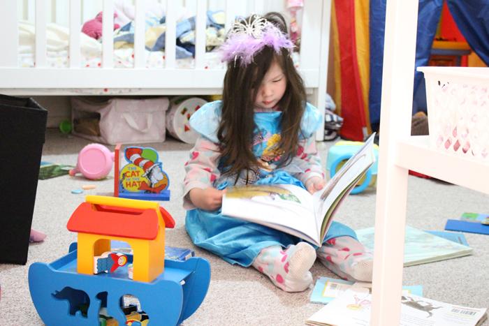 Cinderella reading in her room