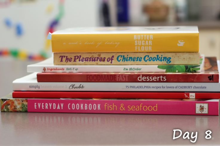 Cookbooks on kitchen benchtop
