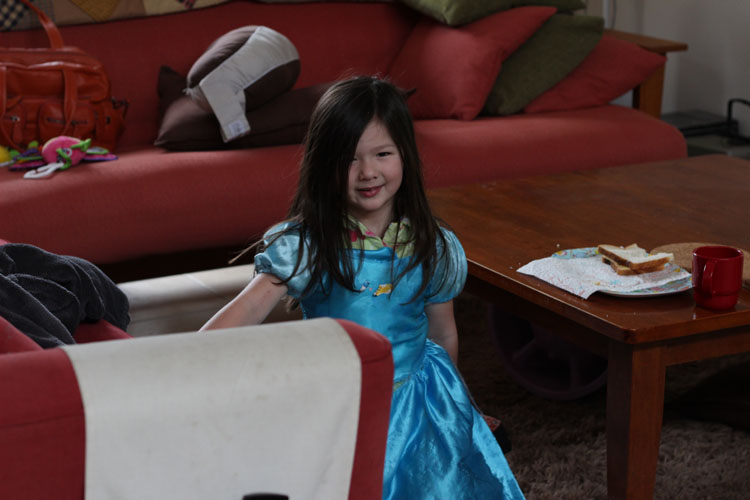 Arddun in Cinderella dress at breakfast