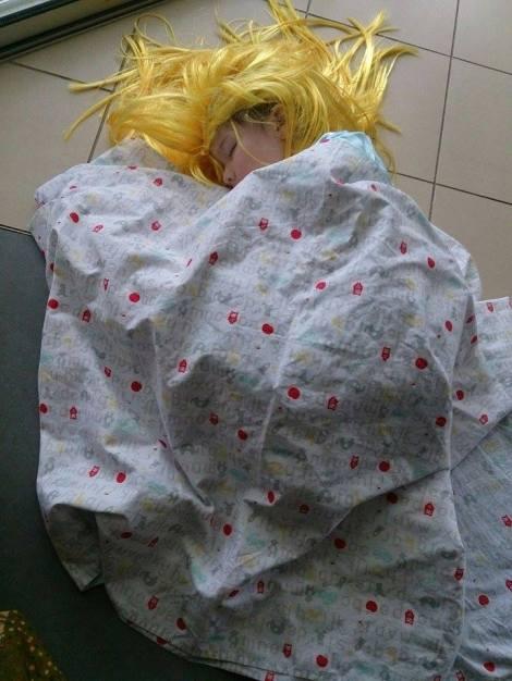 Arddun asleep as Alice in Wonderland